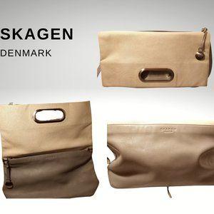 Skagen Ella Cream/Tan Leather Foldover Crossbody
